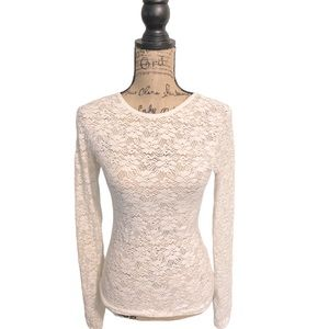 Fenn Wright Manson lace long sleeve cream shirt